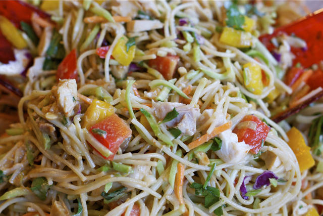I am addicted to Thai Chicken Noodle Salad. I crave that soy/chili/nutty/cilantro wonderfulness and can never stop myself from diving right in to the salad bowl. Just a taste, I […]