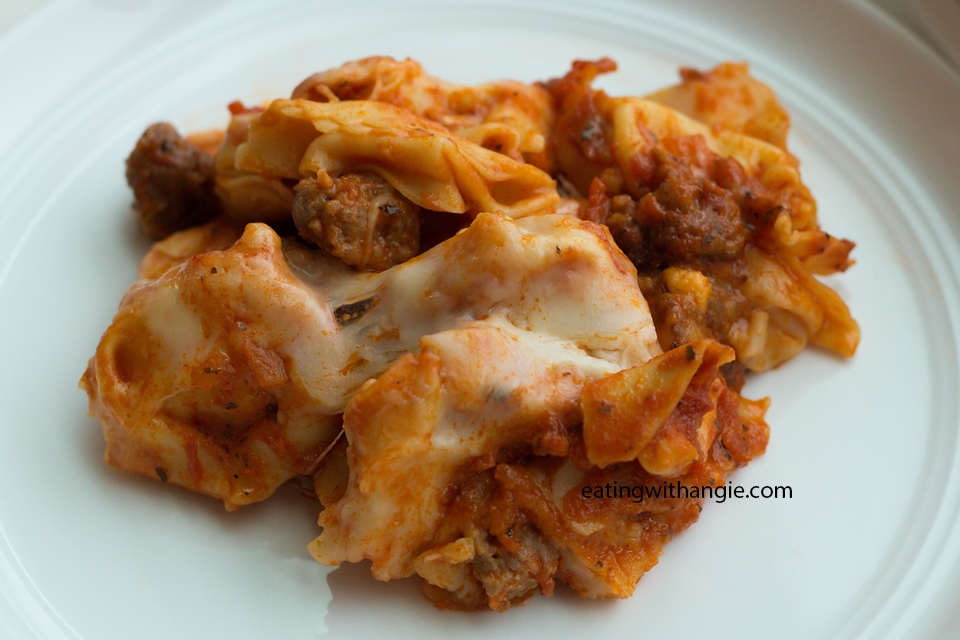 Baked Cheese Tortellini in Vodka Sauce by eatingwithangie.com