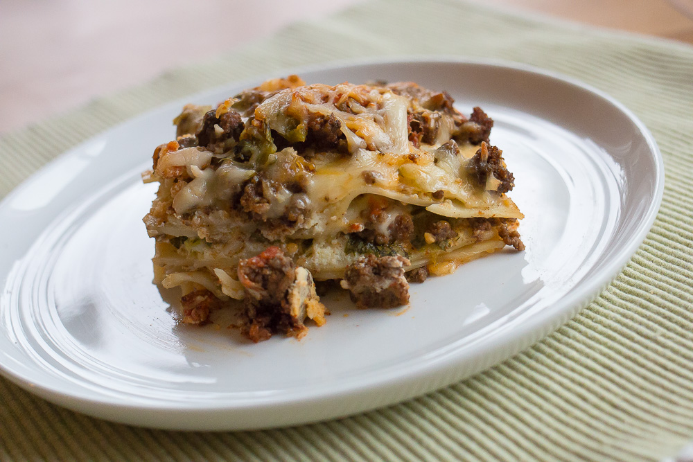 Angie's Mexican Lasagna has all the pop and flavor you love in Mexican food. Cilantro, green chiles, green onions, good salsa and pepper jack cheese. Yum.
