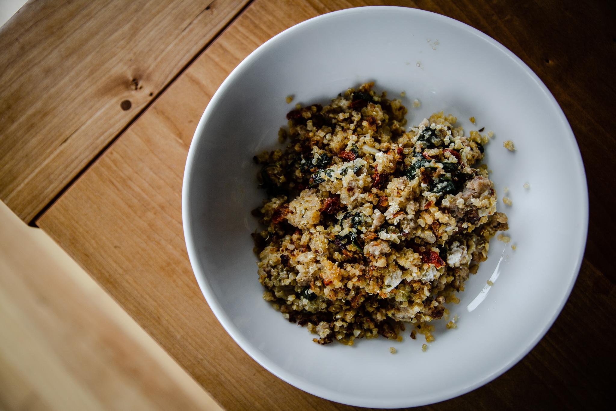 quinoa; bake; Italian; sausage; spinach; casserole